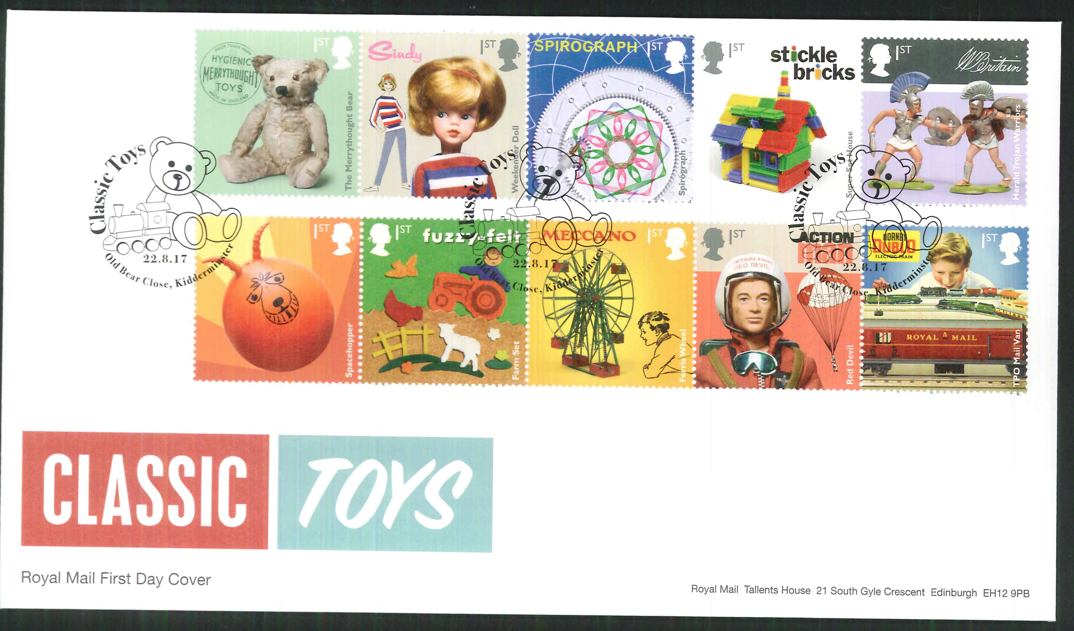 "2017 - First Day Cover ""Toys"" - Old Bear Close Kidderminster Postmark"