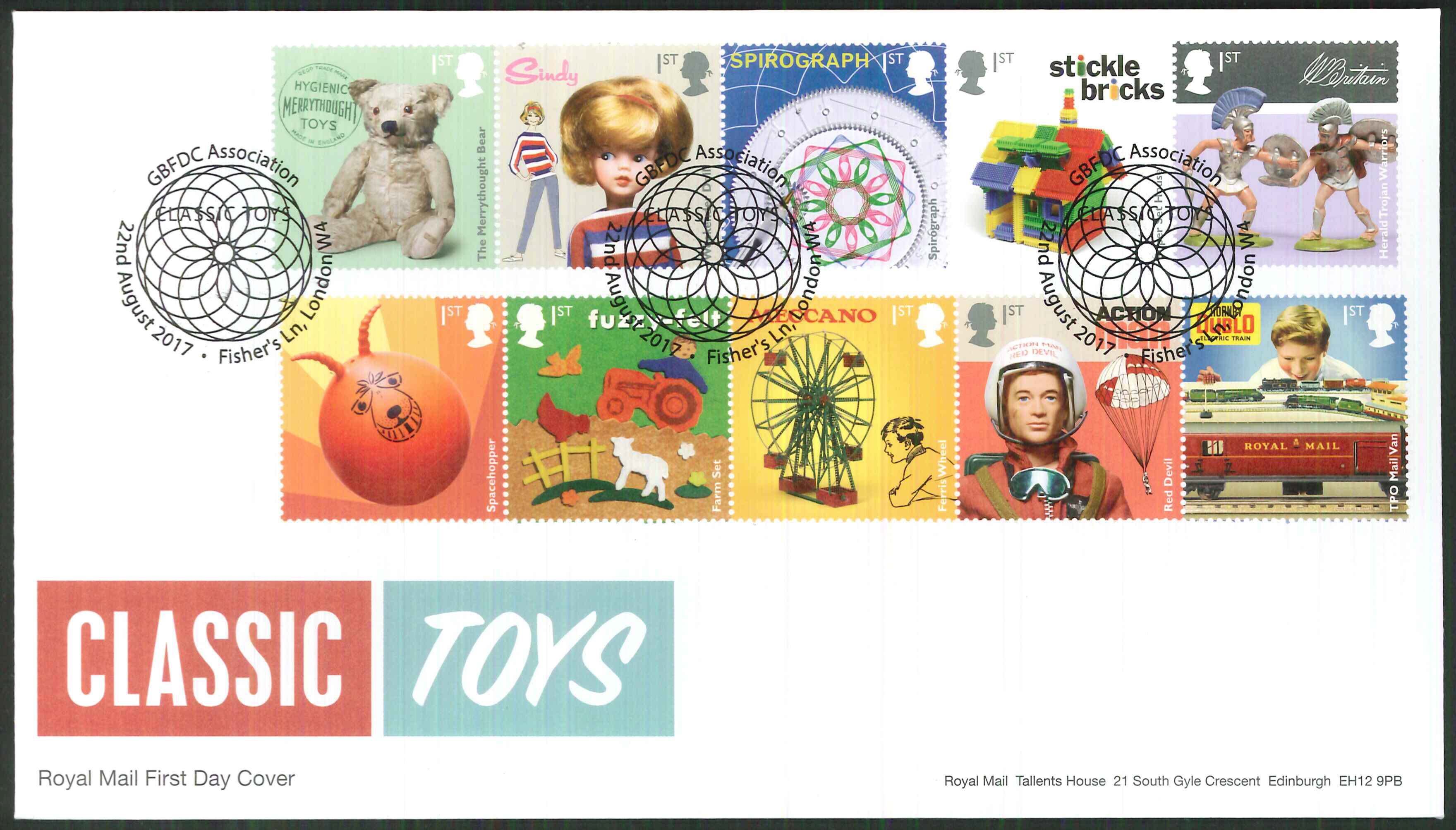 "2017 - First Day Cover ""Toys"" - GBFDC Assn Fisher's Lane London W4 Postmark"
