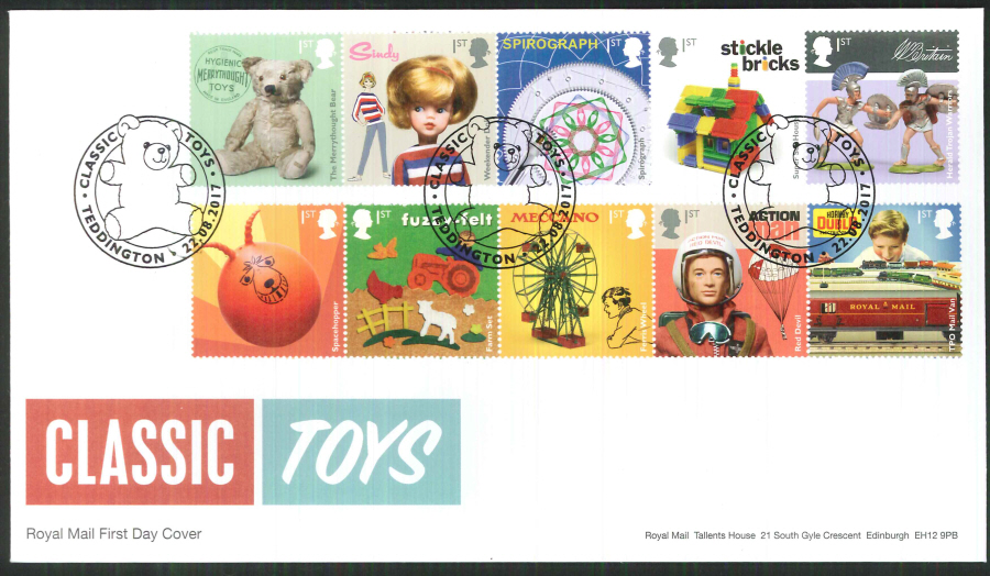 "2017 - First Day Cover ""Toys"" - Classic Toys Teddington Postmark"