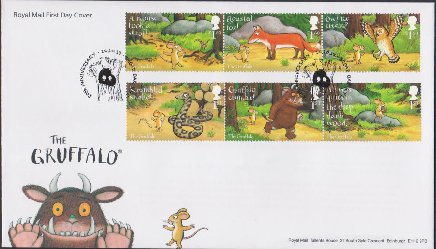 2019 FDC -Royal Mail Gruffalo Set FDC Broad Oak, Rye Postmark - Click Image to Close