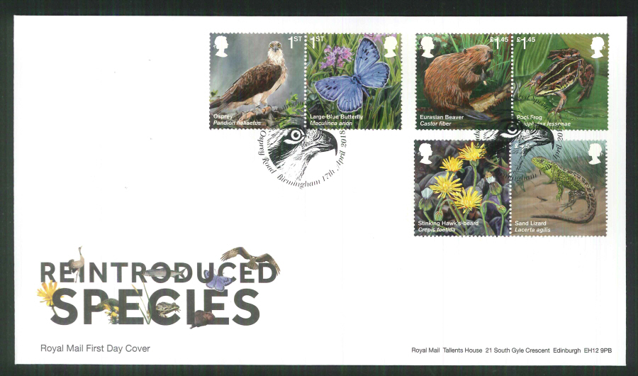 2018 FDC - Reintroduced Species.-Osprey Road Birmingham Postmark