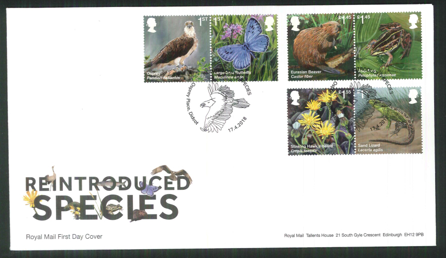 2018 FDC - Reintroduced Species.-Osprey Place Didcot Postmark