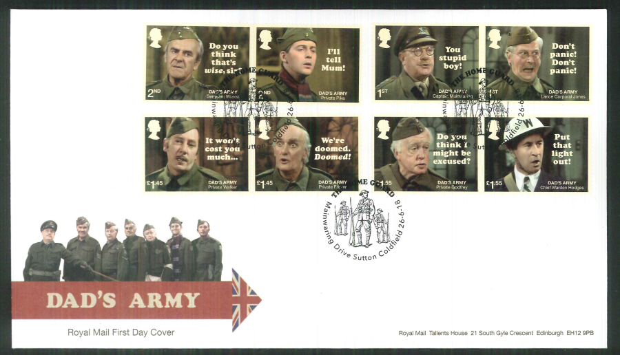 2018 FDC - Dad's Army FDC Mainwaring Drive, Sutton Coldfield Postmark