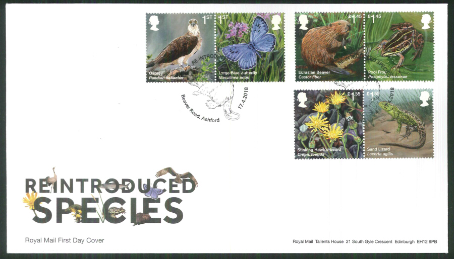 2018 FDC - Reintroduced Species.-Beaver Rd Ashford Postmark