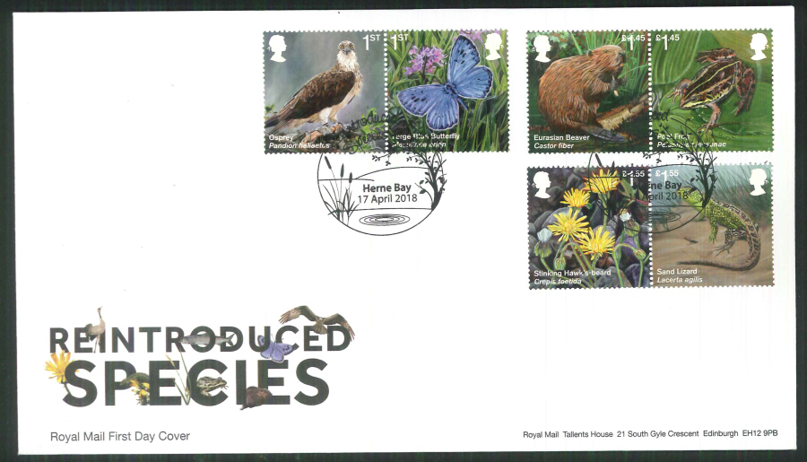 2018 FDC - Reintroduced Species.-Herne Bay Postmark