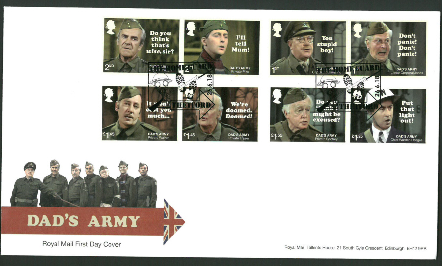 2018 FDC - Dad's Army FDC Home Guard Thetford Postmark