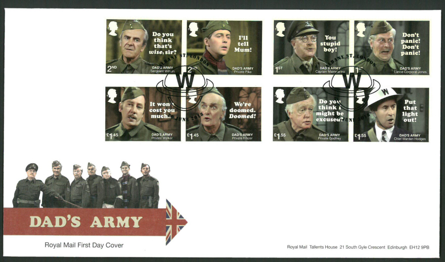 2018 FDC - Dad's Army FDC Albany St London Postmark