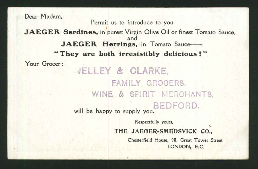 Postcard Advertising - Jelly & Clarke Family Grocers,Bedford