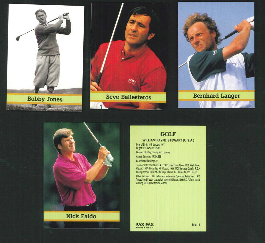 """Famous Golfers"" Trading Card set, by Fax-Pax"